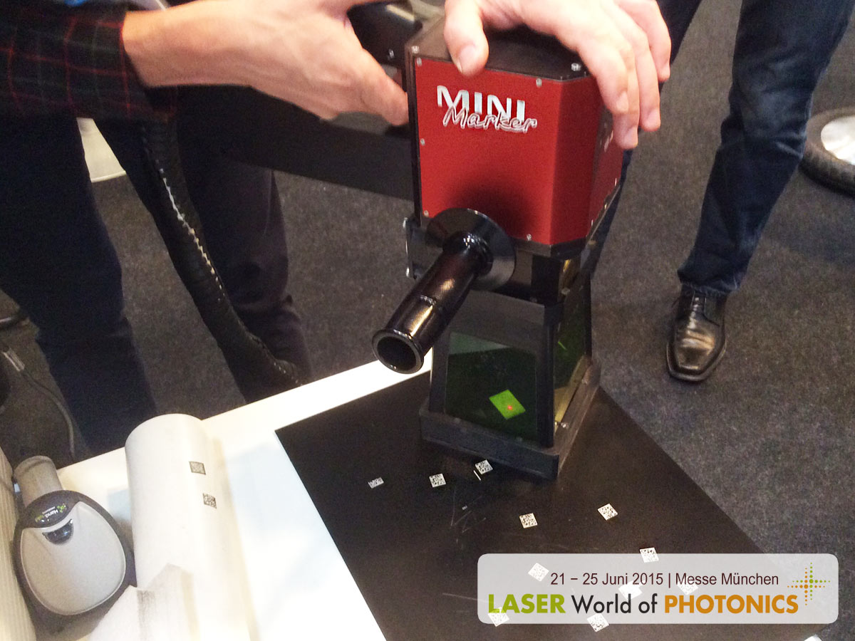 LASER World of PHOTONICS 2015. Laser marking system MiniMarker. Laser engraving portable machine.
